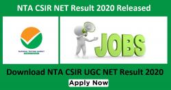 NTA CSIR NET Result 2020 Released | Download NTA CSIR UGC NET Result 2020